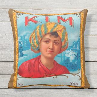 KIM cotton vintage label Throw Cushion