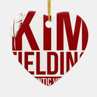 Kim Fielding logo Ceramic Heart Ornament