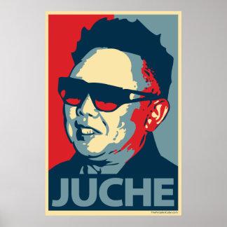 Kim Jong-il - Juche : Affiche de parodie d'Obama