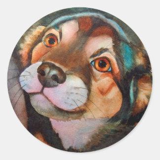 Kimba,Shepherd Terrier Mix Round Sticker