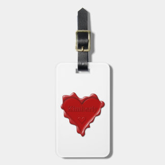 Kimberly. Red heart wax seal with name Kimberly Luggage Tag