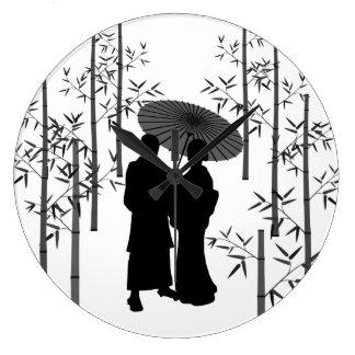 Kimono, couple, Lover, bamboo and Japan Wallclocks