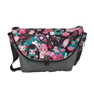 Kimono Cuties Kawaii Messenger Bag by Fluff