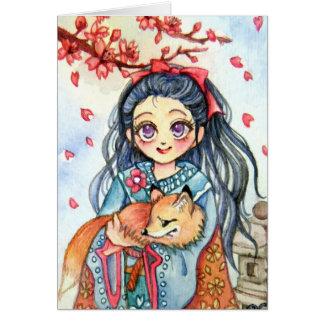 Kimono Girl Holding Little Fox Card