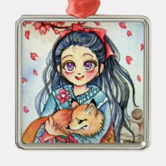 Kimono Girl Holding Little Fox Metal Ornament