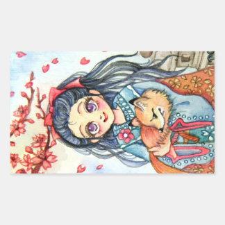 Kimono Girl Holding Little Fox Sticker
