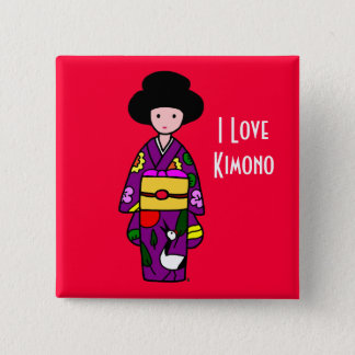 Kimono Girl Purple Cartoon 2 Inch Square Button