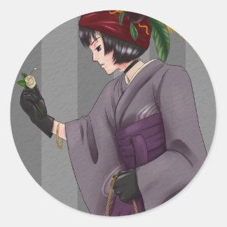 Kimono Hime 1 Round Sticker