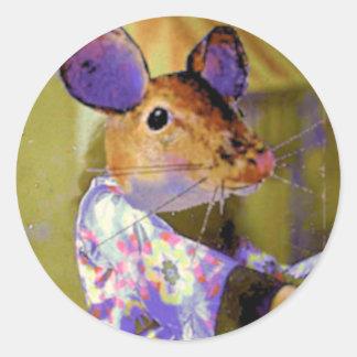 Kimono Mouse Classic Round Sticker