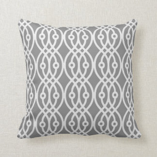 Kimono print, dark grey and silver dark grey throw pillow