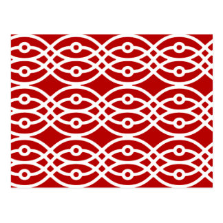 Kimono print, dark red and white postcard