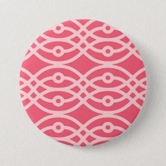 Kimono print, deep coral pink 3 inch round button