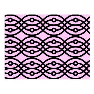 Kimono print ice pink and black post cards