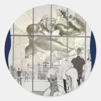 kin kong in aerport round sticker