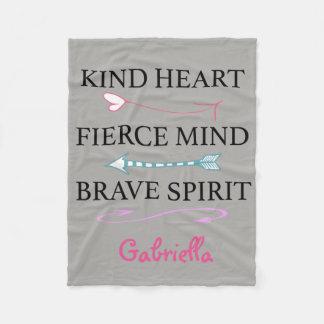 Kind Heart, Fierce Mind, Brave Soul Fleece Blanket