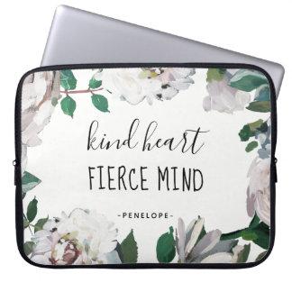Kind Heart Fierce Mind Watercolor Floral Laptop Sleeve