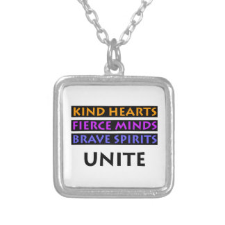 Kind Hearts, Fierce Minds, Brave Spirits Unite Silver Plated Necklace