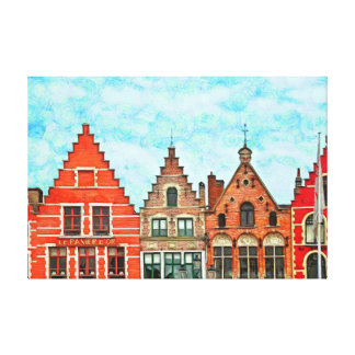 Kind of buildings in the market square of Bruges. Canvas Print