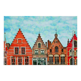 Kind of buildings in the market square of Bruges. Poster