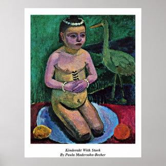 Kinderakt With Stork By Paula Modersohn-Becker Poster