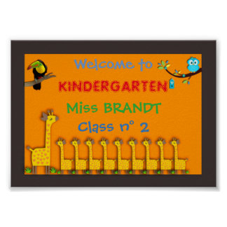 Kindergarten Class,Classroom sign & teacher frame Poster