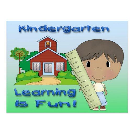 Kindergarten Ethnic Boy Learning is Fun Postcards