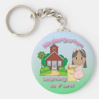Kindergarten Ethnic Girl Learning is Fun Key Chain