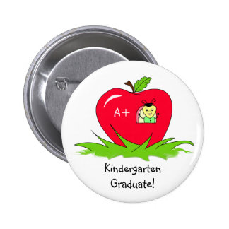 Kindergarten Graduate Red Apple Congratulations 2 Inch Round Button