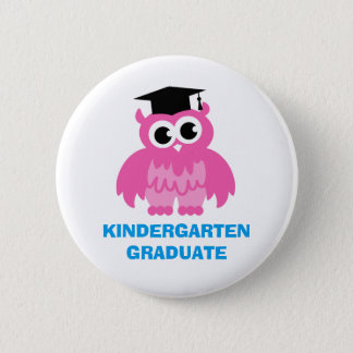 Kindergarten graduation buttons with cute kids owl