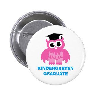 Kindergarten graduation buttons with cute kids owl