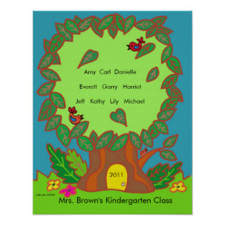 Kindergarten Name Tree by Vera Trembach Poster