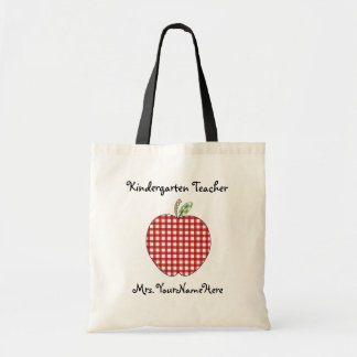 Kindergarten Teacher Bag - Red Gingham Apple