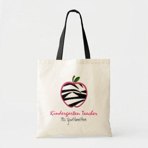 Kindergarten Teacher Bag - Zebra Print Apple