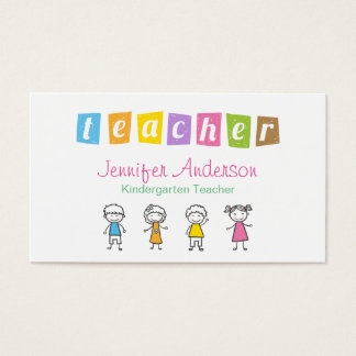 Kindergarten Teacher Crayon Hand Drawn Kids Business Card