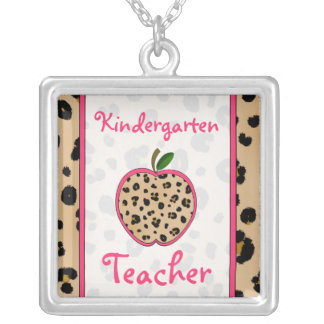 Kindergarten Teacher Leopard Print Apple Necklace