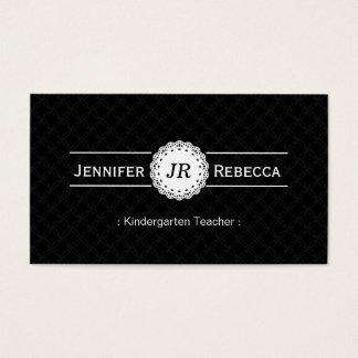 Kindergarten Teacher - Modern Monogram Black Business Card