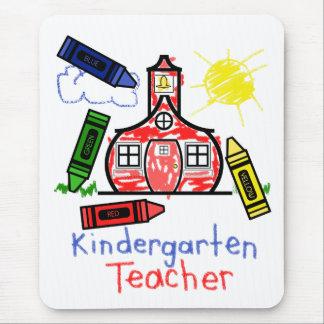 Kindergarten Teacher Mousepad - School & Crayons