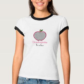 Kindergarten Teacher Shirt - Gray Gingham Apple
