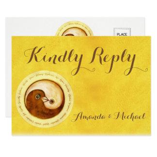 KINDLY REPLY WEDDING CARD Gold YinYang doves Harmo