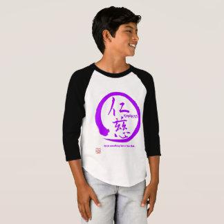 Kindness kanji on Boys 3/4 Sleeve Raglan T-Shirt