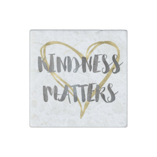 Kindness Matters Gold Heart Stone Magnets