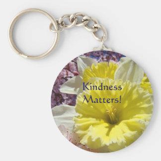 Kindness Matters! key chain Yellow Daffodil Flower