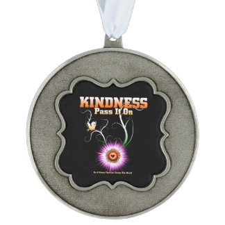 KINDNESS - Pass It On Scalloped Pewter Ornament