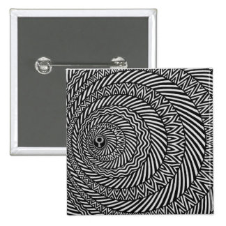 Kinetic Black and White Mandala Badge 2 Inch Square Button