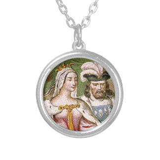 king and queen couple silver plated necklace