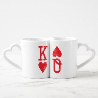 King and Queen of Hearts Playing Cards Couples Coffee Mug Set