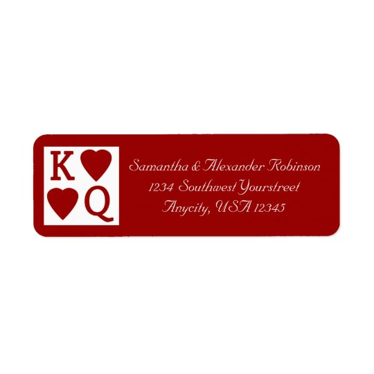 King and Queen Playing Card Vegas Address Label