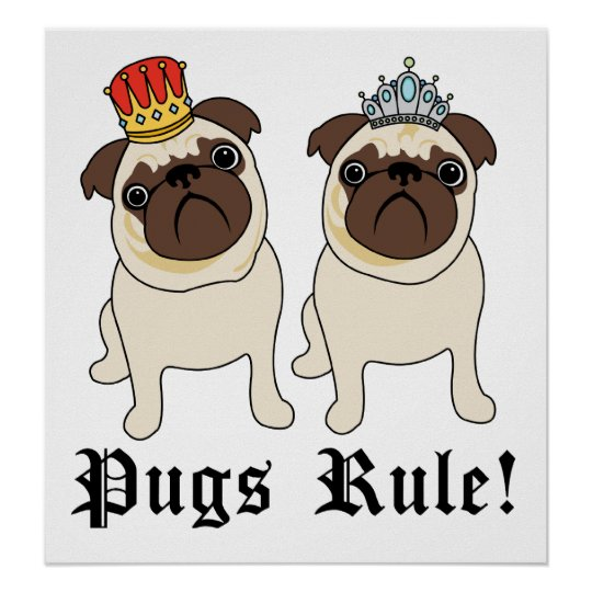 King and Queen Pug Posters and Prints