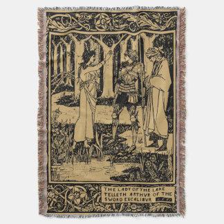 King Arthur by Aubrey Beardsley Throw Blanket