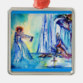 KING ARTHUR ,LADY OF THE LAKE AND EXCALIBUR Silver-Colored SQUARE ORNAMENT